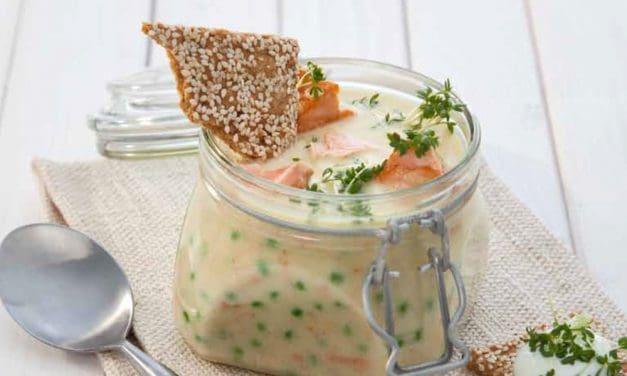 Kartoffel-Erbsensuppe mit Lachs in 35 Minuten
