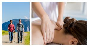 Geteiltes Bild: links: Ein Paar bei einer Wanderung, rechts: Nahaufnahme einer Frau, die eine Massage bekommt