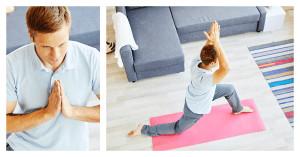 Geteiltes Bild zeigt einen Mann bei zwei unterschiedlichen Yoga-Übungen