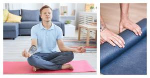 Geteiltes Bild: Links: Ein Mann sitzt in Meditationshaltung auf einer Yogamatte, rechts: Zwei Hände die eine Yogamatte einrollen