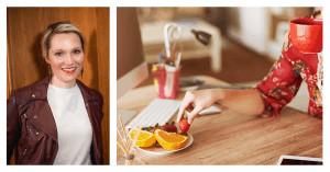 Geteiltes Bild: Links Ernährungsberaterin Sarah Schwietering, rechts eine Frau nimmt eine Erdbeere von einen Obstteller