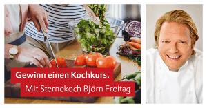 Geteiltes Bild: Links: Zwei Personen bereiten einen Salat zu. Rechts: ein Portrait von Björn Freitag