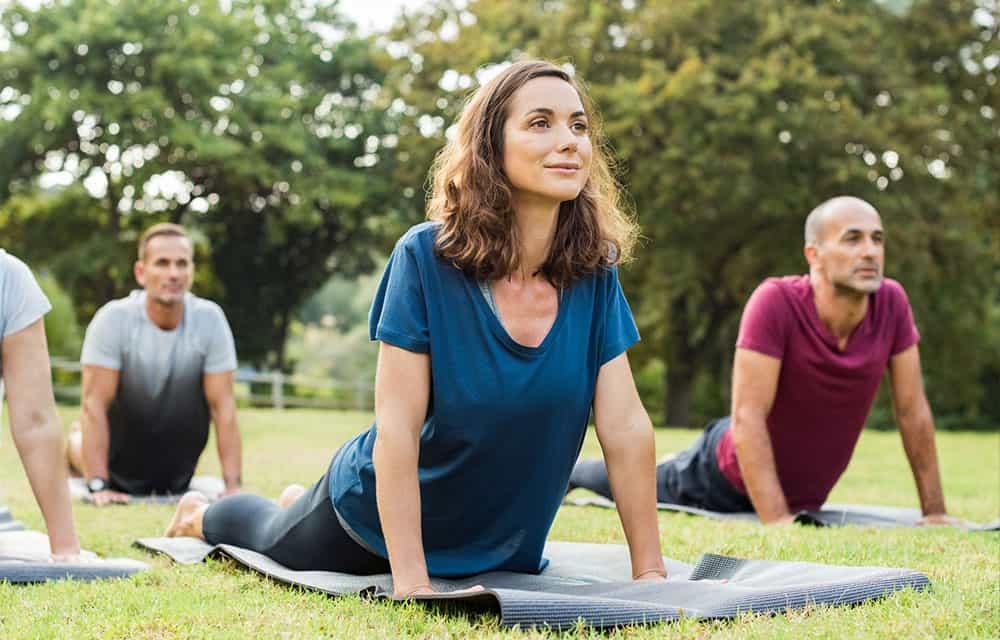 Eine Gruppe Frauen und Männer mach Yoga in einem Park