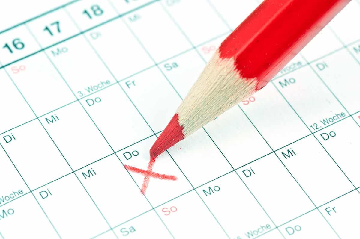 Medizinische Beratung rund um die Uhr, Terminplaner, rot angekreuzter Termin