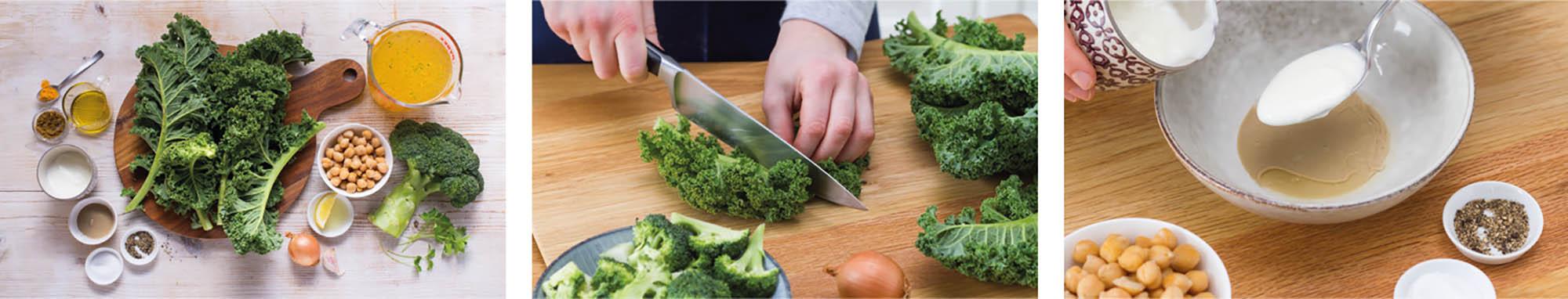 Zubereitung der Brokkoli-Grünkohl-Suppe mit Tahin-Kichererbsen