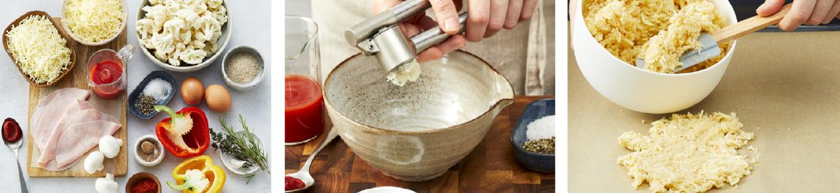 Zubereitung der Brokkoli-Grünkohl-Suppe mit Tahini-Kichererbsen