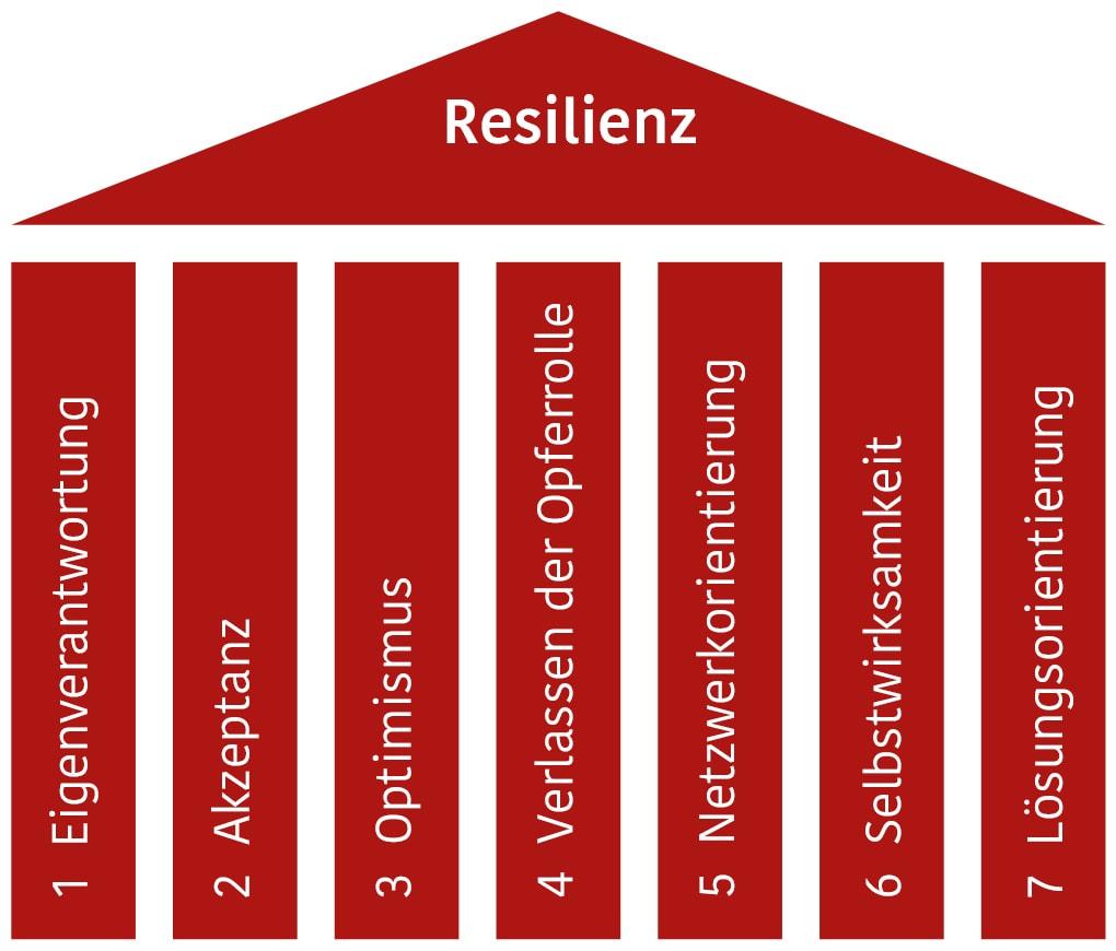 Die 7 Säulen tragen das Dach der Resilienz
