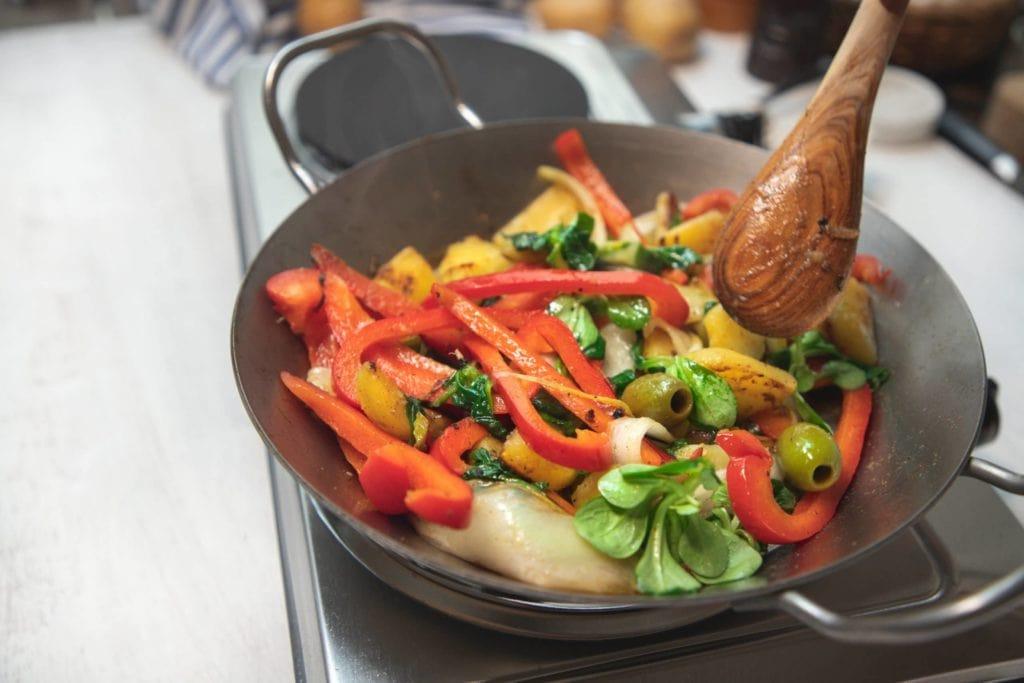 Zubereitung Kartoffelpfanne mit Chicorée und Paprika