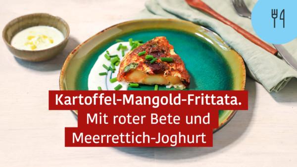 Kartoffel-Mangold-Frittata mit roter Bete und Meerrettich-Joghurt